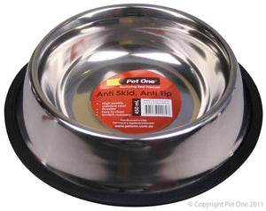 Pet One Stainless Steel Anti Tip and Skid Bowl 1.8L