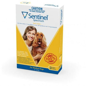 Sentinel Spectrum Chews for Dogs Medium 11-22kg 6pk Fleas Worms Heartworm