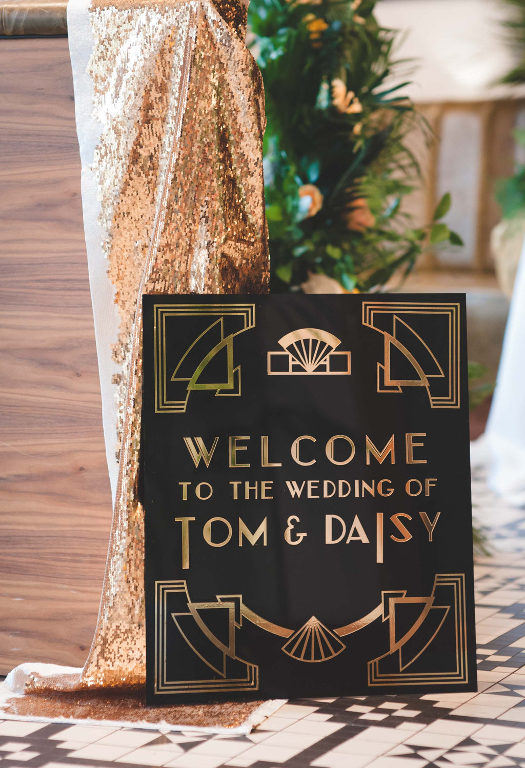 Acrylic black and gold art deco style wedding sign