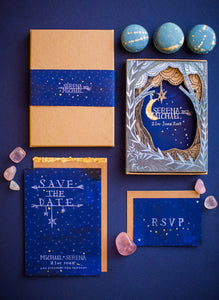 Laser cut boxed wedding invitation with woodland scene and gold leaf moon