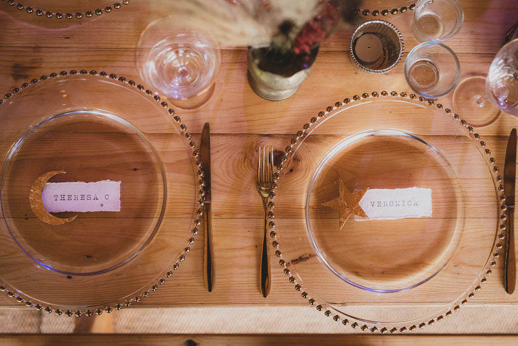 Winter table celestial place cards