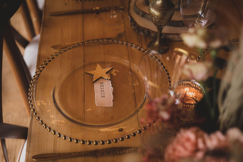 White celestial place names with gold or silver leaf favours