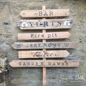 Rustic wedding sign post