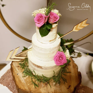 Cupid arrow wedding cake topper