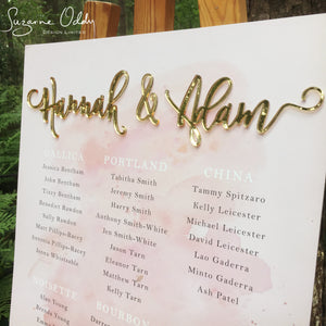 blush pink and gold wedding seating chart