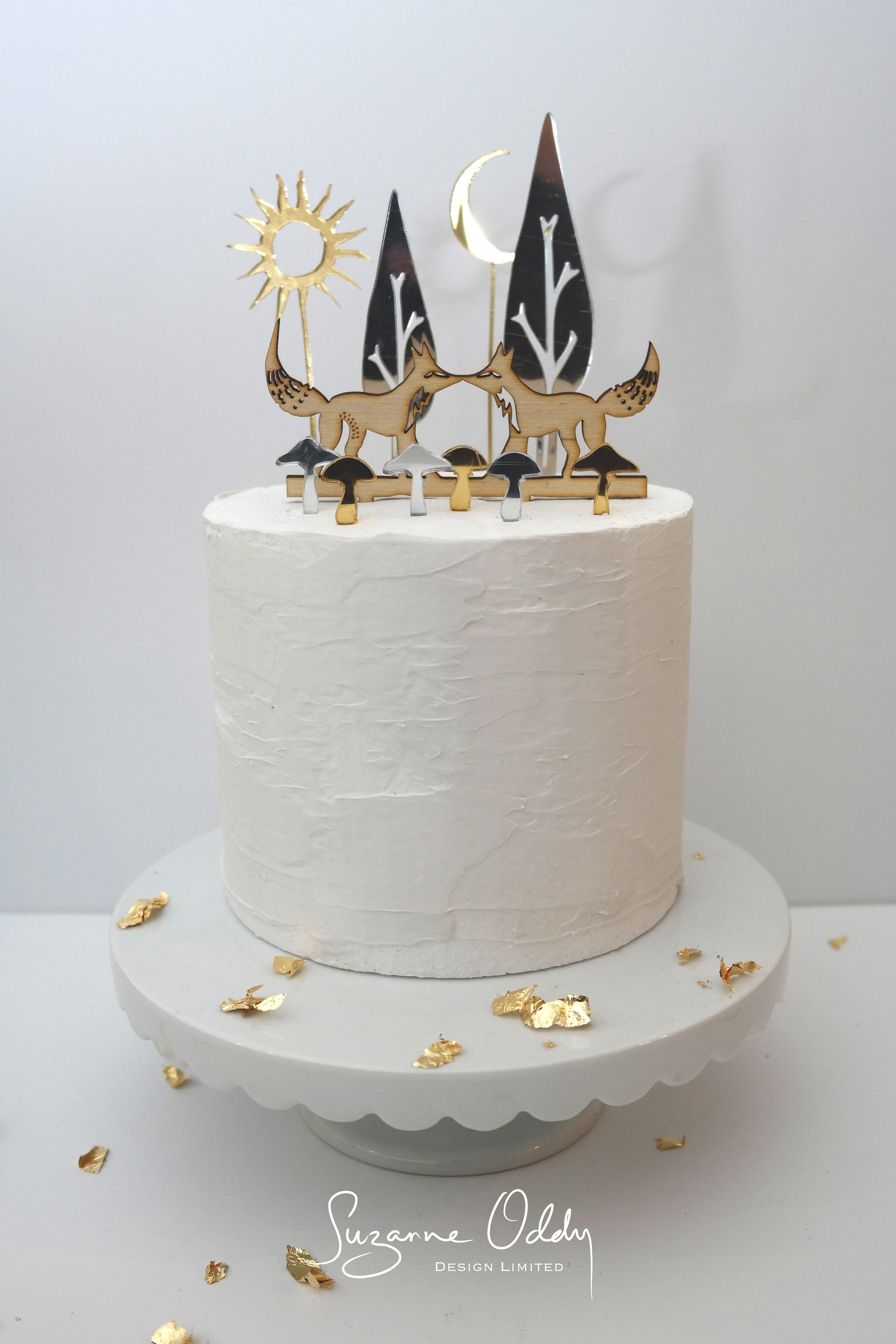 Woodland wedding cake topper