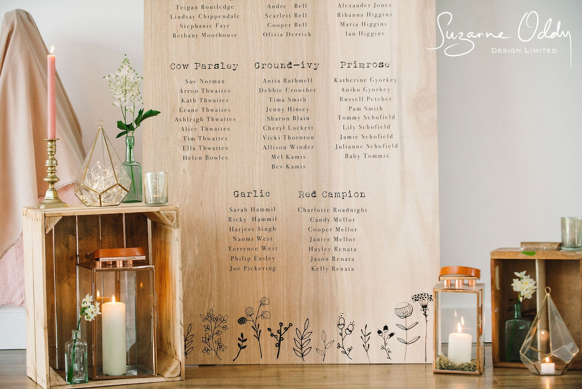 Giant wooden feature seating plan
