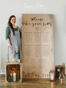Giant wooden feature seating plan. By Suzanne Oddy