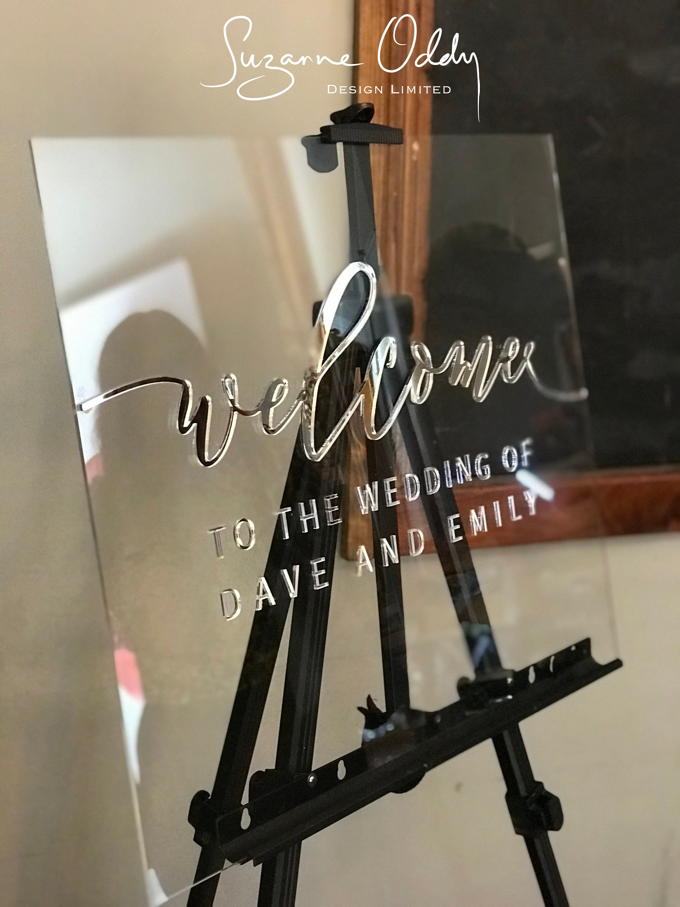 Personalised acrylic welcome to our wedding sign