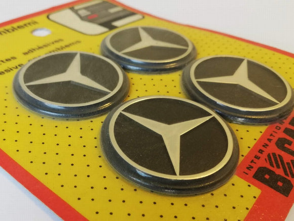 <p>Vintage set of 4 self adhesive Mercedes emblems, diameter is 40 mm - 1.57