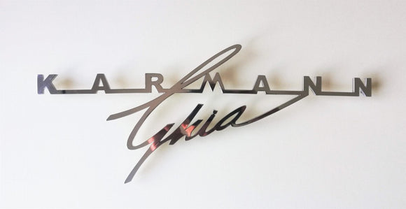 <p>Volkswagen Karmann Ghia large decklid script. The large size script was used on the early Coupe and Convertible models (19