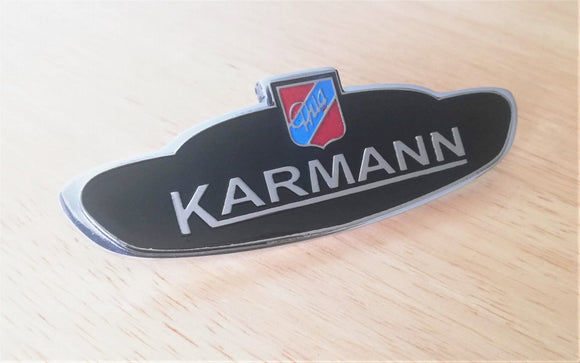 <p>VW Karmann Ghia Coupe / Convertible Side enameled emblem.</p> <p>Made of high grade Aluminum and enamel finish, it will no