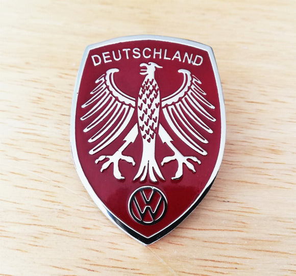 <p>Red VW Deutschland Germany Eagle Crest front hood enameled emblem / badge with a custom bolt type post aluminum base so yo