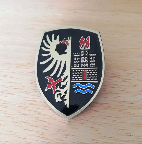<p>VW Deutschland Germany Eagle Crest / Wolfsburg front hood enameled emblem / badge with a custom bolt type post aluminum ba
