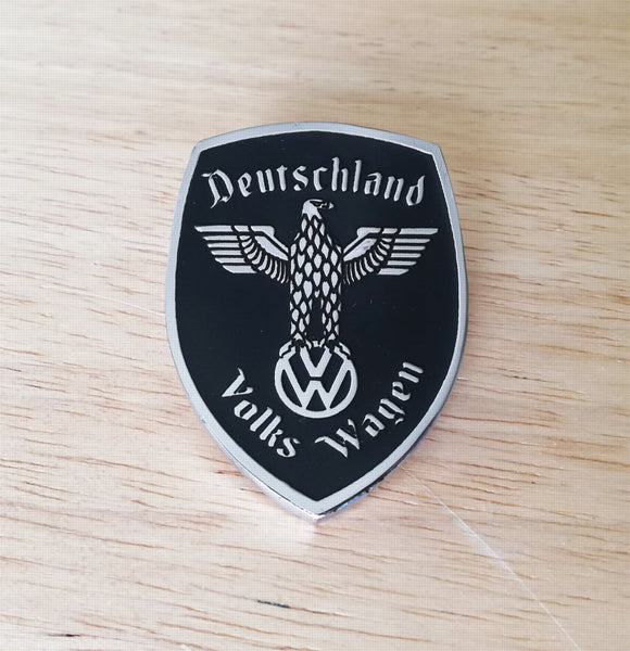 <p>VW Deutschland Germany Eagle Crest front hood enameled emblem / badge with a custom bolt type post aluminum base so you ca