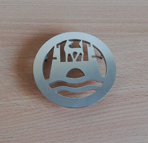 <p>VW Beetle hood emblem with the Wolfsburg logo. Made of high grade aluminum (4 mm thickness), it will not rust and will giv