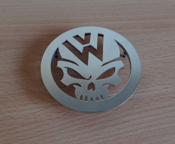 <p>VW Beetle custom hood emblem. Made of high grade aluminum (4 mm thickness), it will not rust and will give your car a beau