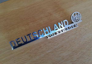 <p>Cutom Deutschland Volkswagen hood / bonnet/ decklid script with Deutschland Eagle logo. Will look awesome on your beetle b