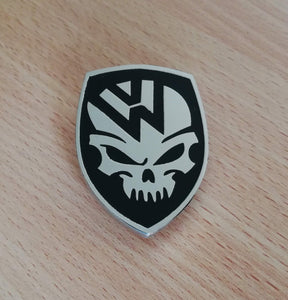 <p>VW custom skull design front hood enameled emblem / badge with a custom bolt type post aluminum base so you can mount it o