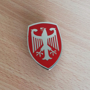 <p>VW custom Deutschland eagle design front hood enameled emblem / badge with a custom bolt type post aluminum base so you ca