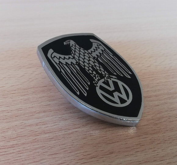 <p>Black VW Deutschland Germany Eagle Crest front hood enameled emblem / badge with a custom bolt type post aluminum base so