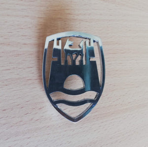 <p>Custom style Wolfsburg crest front hood emblem / badge with a custom bolt type post so you can mount it on virtually any p