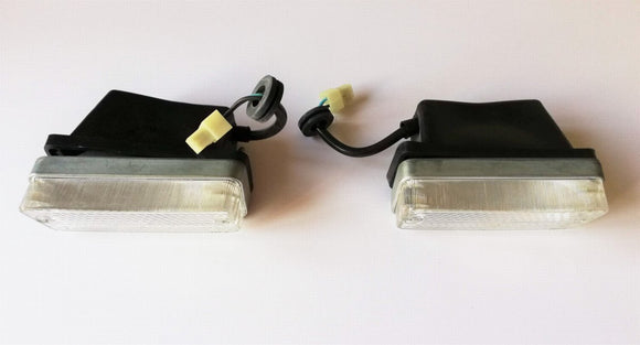 <p>Pair of front clear indicator light assemblies (LH + RH) to fit Fiat 124 Sports Coupe BC and Fiat 850, might fit other Ita