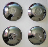 CUSTOM DOMED Stainless Steel Volkswagen VW logo Hubcap Set Late 4 Lug Beetle Bay