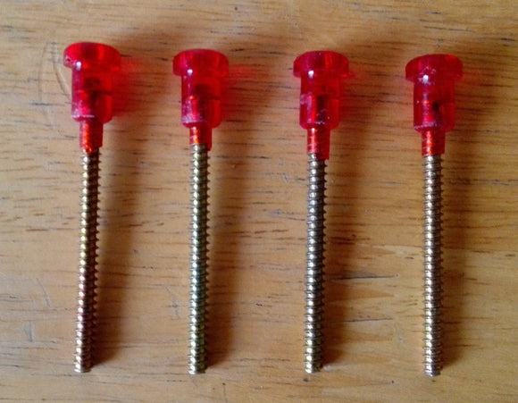 <p>Set of 4 red lens screws for tailight or stop/brake light for use in many Italian classic cars including Fiat, Alfa Romeo,