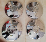 Stainless Steel Volkswagen VW logo Chrome Flat Hubcaps Set Late Beetle Bug Bus
