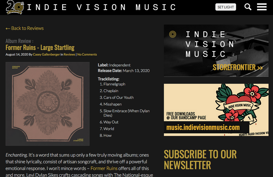 NEWS: 'Large Startling' earns a 5/5 review from Indie Vision Music