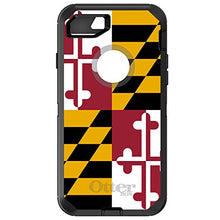"Load image into Gallery viewer, DistinctInk Case for iPhone 7 / iPhone 8 (4.7"" Screen) - OtterBox Defender Black Custom Case - Old Weather Maryland Flag - Show Your Love of Maryland"