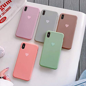 Ninetee Soft TPU Phone Cases for iPhone X Xs Max XR XS Love Heart Case for iPhone 7 8 7plus 8plus Cute Candy Color Back Cover Coque (Rose, for iPhone Xs Max)