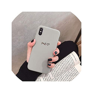 Simple Solid I Love U iPhone 11 Pro X 7 Case for iPhone Xs Max Xr Women Anti Fall Phone 6S TPU Soft Case 8 7plus Back Cover,for iPhone 11pro,M Matcha Green