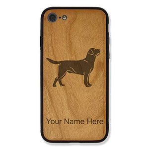 Case Compatible with iPhone 7 and iPhone 8, Labrador Retriever Dog, Personalized Engraving Included (Bamboo)