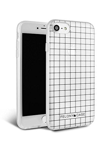 iPhone 8 Case, iPhone 7 Case, iPhone 6/6s Case, FELONY CASE - Clear Case with White Grid Protective Shock-Absorbing Stylish TPU/PC Screen Protector Case for iPhone 8, 7, 6/6s (White Grid Case)