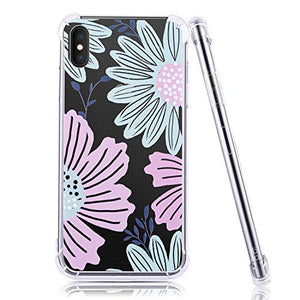 Emogins Custom Phone Case for Apple iPhone Xs Max with Floral Pattern, Soft Rubber Silicone Bumper Hard Back Protective Cover - Blue