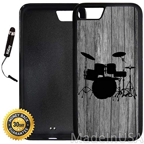 Custom iPhone 7 Case (Drums Set on Wood) Edge-to-Edge Rubber Black Cover Ultra Slim | Lightweight | Includes Stylus Pen by Innosub
