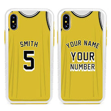 Load image into Gallery viewer, Custom Basketball Jersey Cases for iPhone X/XS by Guard Dog – Personalized – Put Your Name and Number on a Rugged Hybrid Phone Case. Includes Guard Glass Screen Protector. (Black, Black)