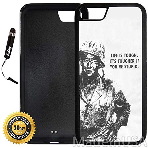 Custom iPhone 7 Case (John Wayne Quote) Edge-to-Edge Rubber Black Cover Ultra Slim | Lightweight | Includes Stylus Pen by Innosub