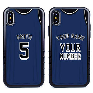 Custom Basketball Jersey Cases for iPhone X/XS by Guard Dog – Personalized – Put Your Name and Number on a Rugged Hybrid Phone Case. Includes Guard Glass Screen Protector. (Black, Black)
