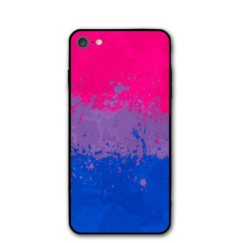 Art Bi Bisexual Flag Phone Cases for iPhone 7 Or Apple 8 Cell Mobile Shell Back Cover Case with Soft TPU+PC Frame