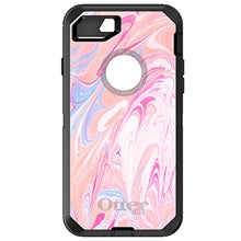 "Load image into Gallery viewer, DistinctInk Case for iPhone 7 / iPhone 8 (4.7"" Screen) - OtterBox Defender Black Custom Case - Hot Pink Blue White Marble Image Print - Printed Marble Image"