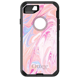 "DistinctInk Case for iPhone 7 / iPhone 8 (4.7"" Screen) - OtterBox Defender Black Custom Case - Hot Pink Blue White Marble Image Print - Printed Marble Image"