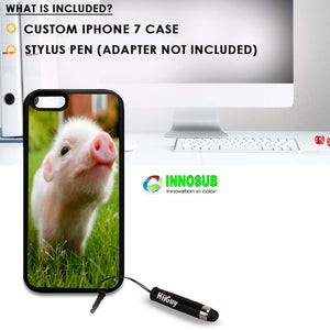 Custom iPhone 7 Case (Cute Piglett Baby Pig) Edge-to-Edge Rubber Black Cover with Shock and Scratch Protection | Lightweight, Ultra-Slim | Includes Stylus Pen by Innosub
