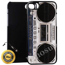 Load image into Gallery viewer, Custom iPhone 7 Case (Old Player Stylish Retro Boombox) Edge-to-Edge Plastic Black Cover with Shock and Scratch Protection | Lightweight, Ultra-Slim | Includes Stylus Pen by Innosub