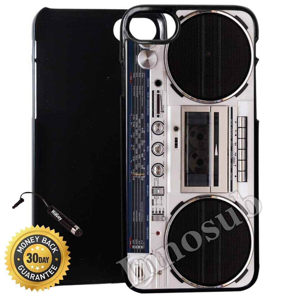 Custom iPhone 7 Case (Old Player Stylish Retro Boombox) Edge-to-Edge Plastic Black Cover with Shock and Scratch Protection | Lightweight, Ultra-Slim | Includes Stylus Pen by Innosub