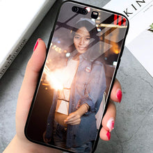 Load image into Gallery viewer, Personalized Picture Custom Tempered Glass Cellphone Cases for Huawei Y9 2019 DIY Photo Text Tempered Glass Cover Black Soft Edge Protective Bumper Case