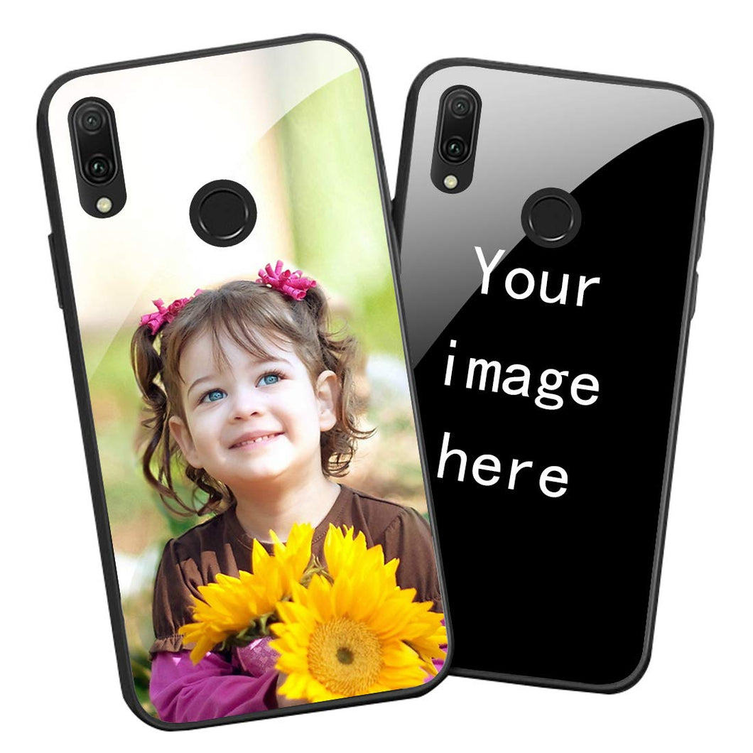 Personalized Picture Custom Tempered Glass Cellphone Cases for Huawei Y9 2019 DIY Photo Text Tempered Glass Cover Black Soft Edge Protective Bumper Case