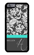 Load image into Gallery viewer, Custom Phone Case iPhone 7, iPhone 8 Case iZERCASE Monogram Personalized Damask with Thin Stripe Pattern Pattern for Apple iPhone 7, iPhone 8 (Turquoise)